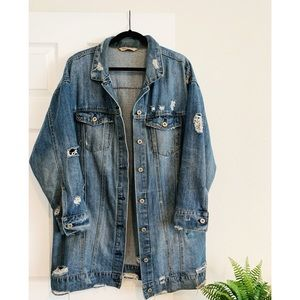 Oversized Long-line Distressed Denim Jacket